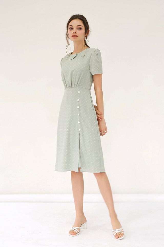 BLAIR POLKADOT MIDI DRESS SAGE