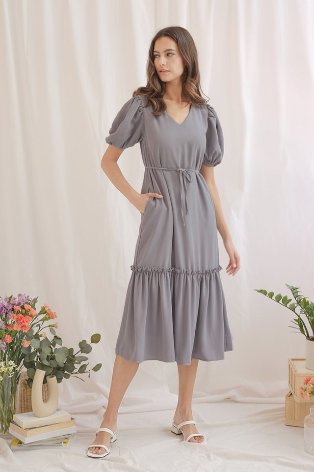BREE DROP HEM DRESS DUSTY BLUE
