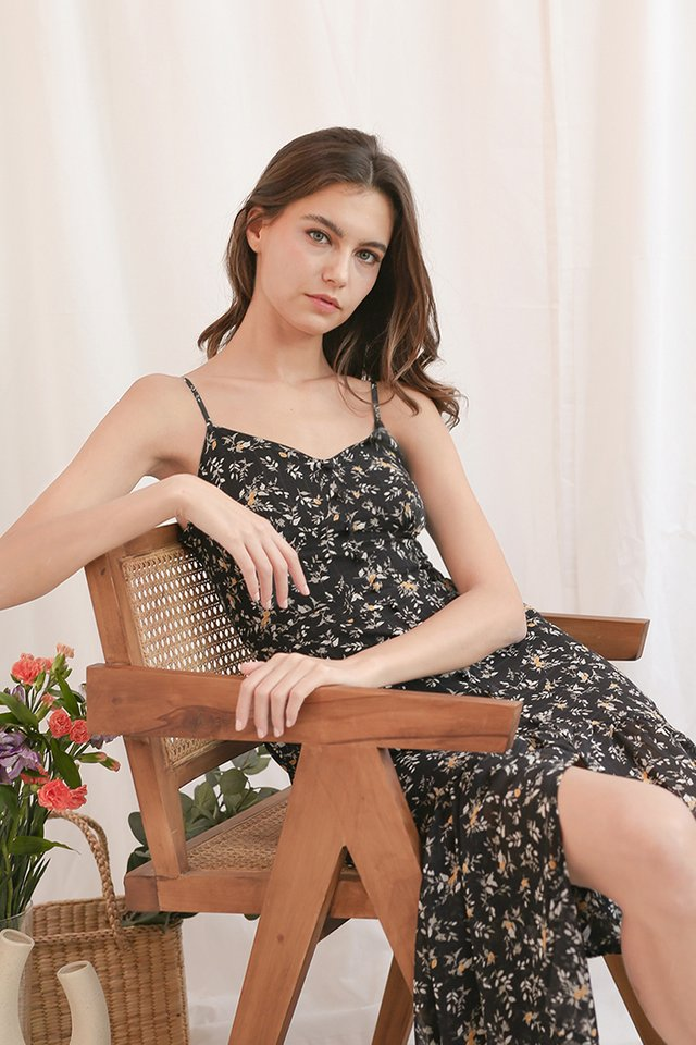 NATALIE FLORAL DRESS BLACK
