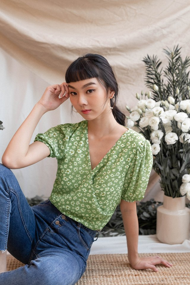 CAMILLE FLORAL WRAP TOP GREEN