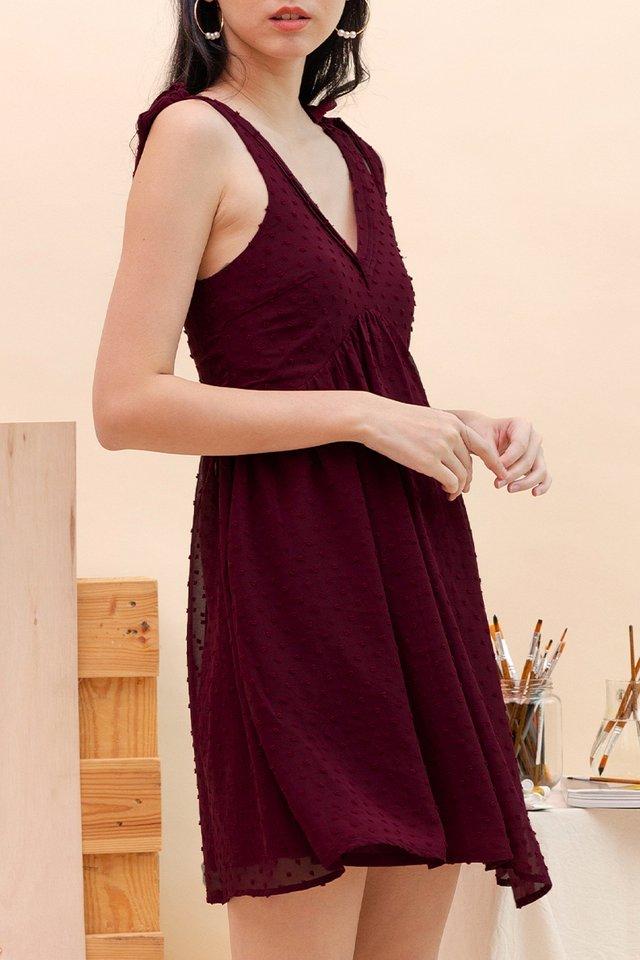 ADRIA SWISS DOT DRESS WINE