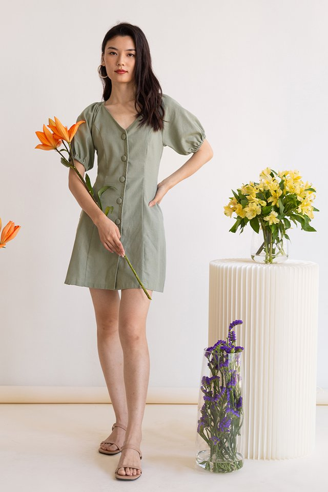 DAPHNE POUF SLEEVE MINI DRESS FERN