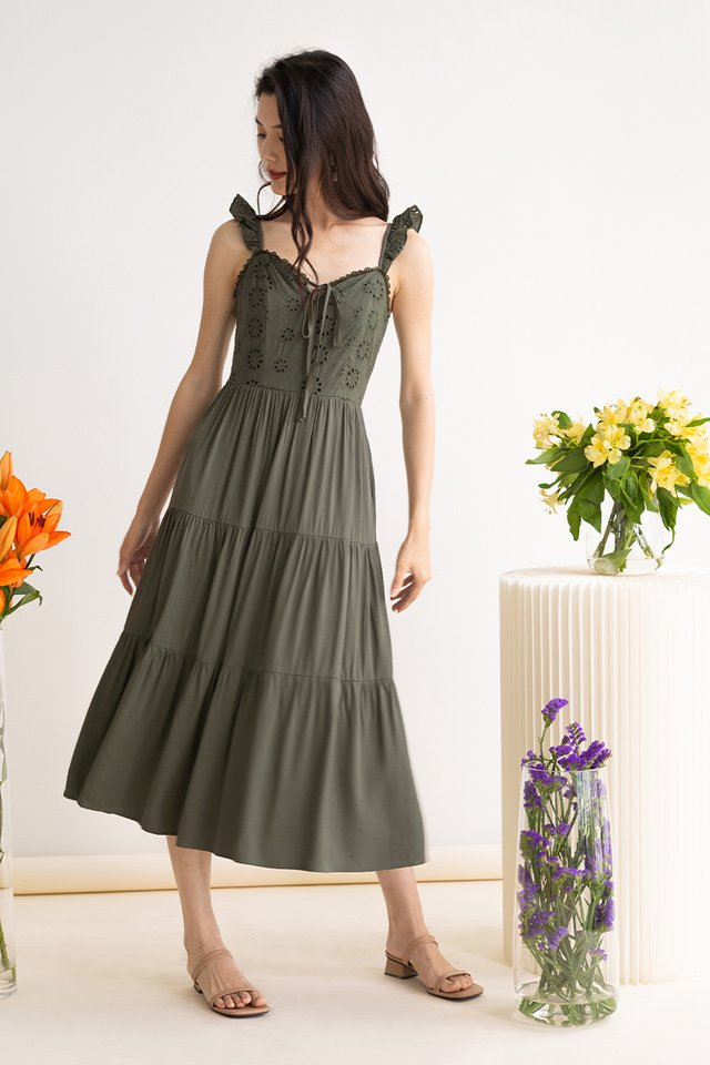 EMMA EYELET DRESS FERN