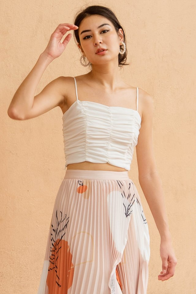ADELE RUCHED CROP TOP WHITE