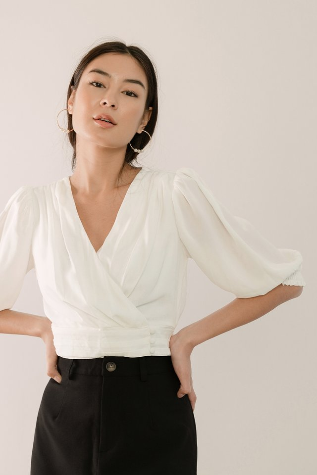 (BACKORDER) OLIVIA PLEAT WRAP TOP WHITE