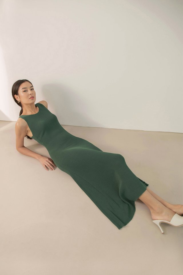 THEA RIBBED KNIT DRESS GREEN