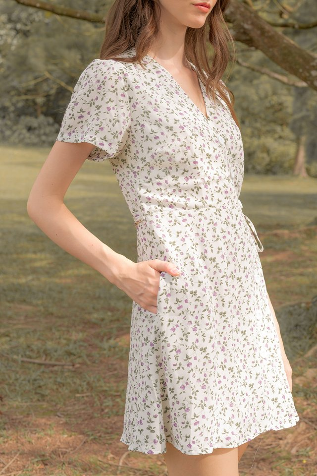HAILEY PRINTED WRAP DRESS WHITE